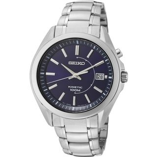 SEIKO Mens Kinetic Blue Dial Stainless Steel Watch