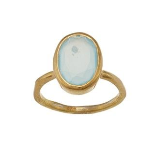 Gold over Silver Blue Chalcedony Oval Ring (Israel)