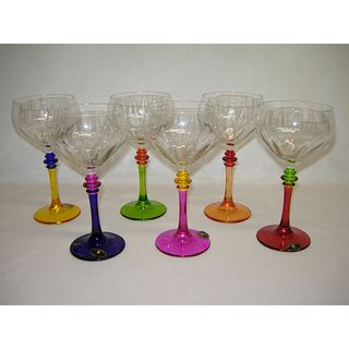 Italian Hand painted Multicolor Fun Wine Glasses (Set of 6