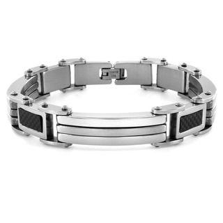 West Coast Jewelry Stainless Steel Rectangular Carbon Fiber Links