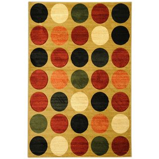 Hand Carved Moderno Contemporary Geometric Gold Area Rug (53 x 73