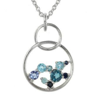 Michael Valitutti Sterling Silver Blue Multi gemstone Necklace