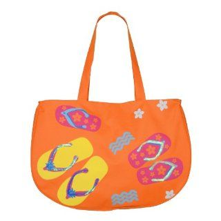 Super Cute Summer Fun Large Beach Tote Bag Orange Shoes