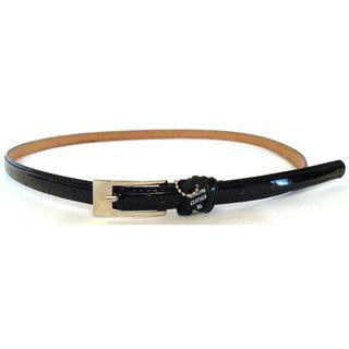 Womens Black Patent Leather Skinny Belt