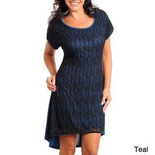 Stanzino Womens Plus Size Cap Sleeve High Low Lace Dress