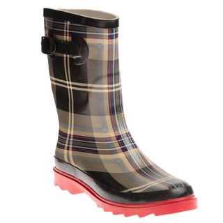Henry Ferrera Womens Black and Red Plaid Printed Rain Boots