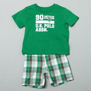 US Polo Toddler Boys Graphic Tee and Plaid Shorts