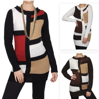 Journee Collection Juniors Color Block Scoop Neck Tunic Sweater