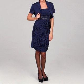 Richards Womens Crepe Beaded Jacket Dress