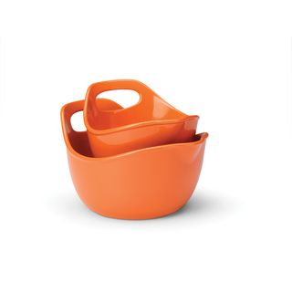 Rachael Ray Orange 2 piece Stoneware Mixing Bowls Set