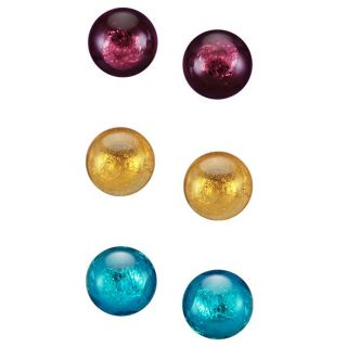 Sterling Silver Multi colored Murano Glass Stud Earrings (Set of 3