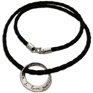 Love You More Mobius Sterling Silver and Leather Necklace