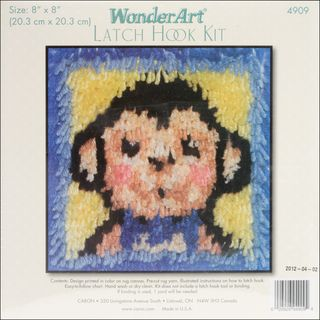 Wonderart Latch Hook Kit 8X8 Monkey