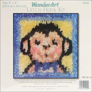 Wonderart Latch Hook Kit 8X8 Monkey