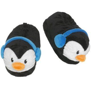 The Childrens Place Girls Black Penguin Slippers Shoes