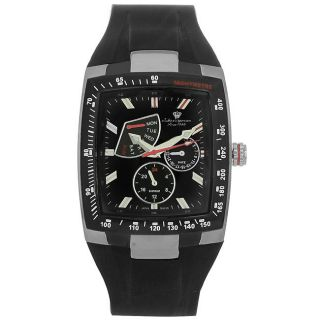 Jules Jurgensen Mens Innovative Black and Red Back Rubber Strap Watch
