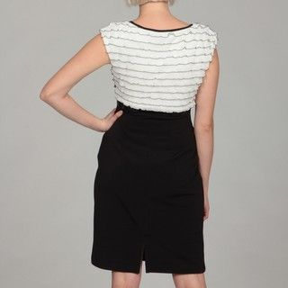 Connected Apparel Womens Ivory/ Black Shutter Pleat Dress
