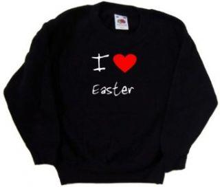 I Love Heart Easter Black Kids Sweatshirt Clothing