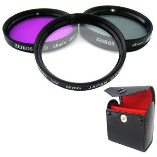 Zeikos 58 mm Multi Coated Glass Filter Kit