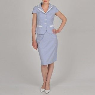 Signature by Larry Levine Womens Seersucker Skirt Suit