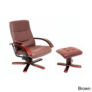 International Caravan Faux Leather Swivel Rocker Chair and Ottoman Set