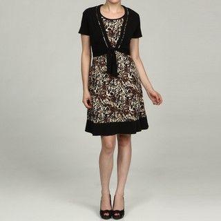Glamour Womens Animal Print Dress and Tie shrug 2 piece Set