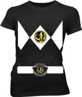 Power Rangers Black Ranger Costume Black Juniors T Shirt