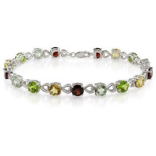 Miadora Sterling Silver Multi gemstone Tennis Bracelet