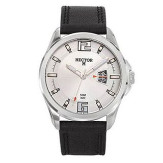 Hector H Mens Classic Black Leather Strap Watch