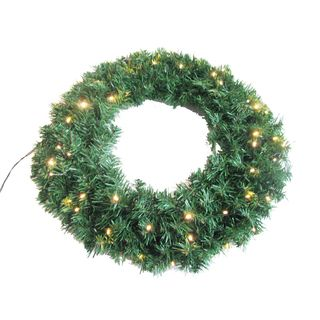 Battery Operated 24 inch Wreath with 50 Soft White LED Lights and 250