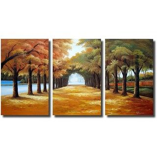 Golden Road 3 piece Gallery wrapped Canvas Art Set