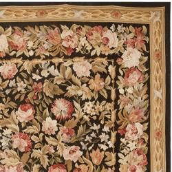 Hand knotted French Aubusson Black Wool Rug (9 x 12)