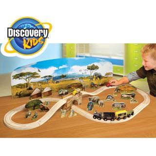 Discovery Kids Wooden Wild Safari 63 piece Train Set