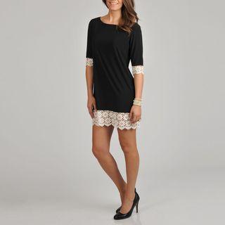 Tiana B Womens Black Lace Trim Dress