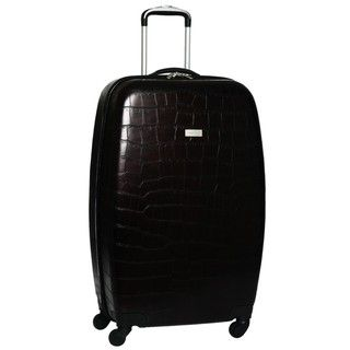 Ellen Tracy Chocolate Venezia Croco Embossed 28 inch Hardside Spinner