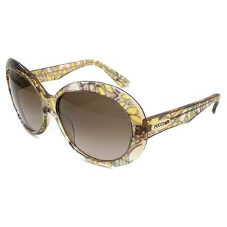 Emilio Pucci Womens 278 Yellow Floral Print Round Sunglasses