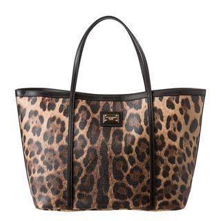 Dolce & Gabbana Tan/ Black Leopard Print Tote Bag