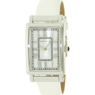 Anne Klein Womens AK 1093MPWT White Leather White Dial Quartz Watch