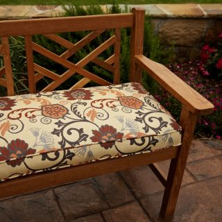 Clara Grey/ Rust Outdoor 60 inch Sunbrella? Fabric Bench Cushion