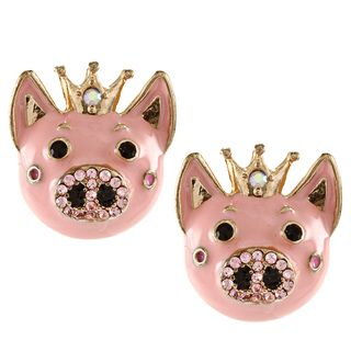 Betsey Johnson Cubic Zirconia Goldtone Pink Pig Stud Earrings