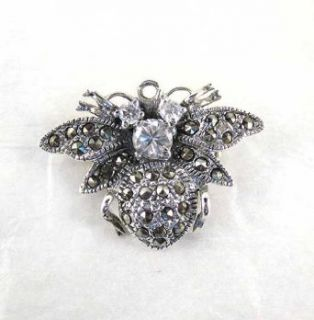 Vintage Sterling Silver & Marcasite Honey Bee Brooch