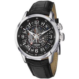 Vulcain Mens Anniversary Heart Black Skeleton Dial Automatic Watch