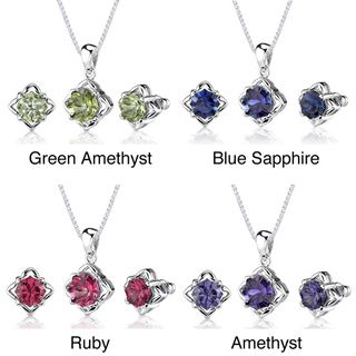 Sterling Silver Concave cut Gemstone Jewelry Set