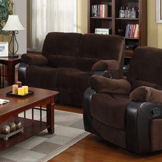 Newman Dark Brown Microfiber Upholstered Love Seat