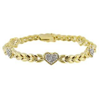 DB Designs 18k Gold/ Silver Diamond Accent Heart Bracelet