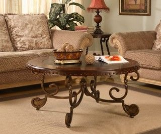 Nailhead/ Wood Inlay Coffee Table