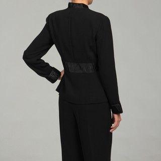 Dana Kay Womens Black 3 button 2 piece Pant Suit