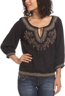 Lucky Brand Womens Elbow Sleeve Tunic Top,Multi,X Large
