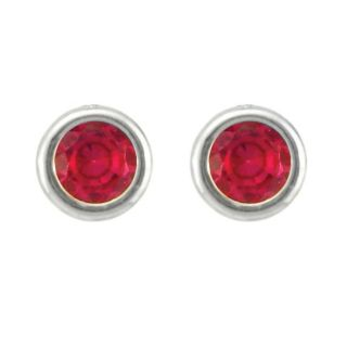 10k Gold July Birthstone Created Ruby Stud Earrings