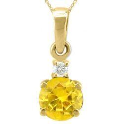 10k Gold November Birthstone Citrine and Diamond Necklace